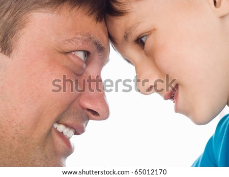 happy father and son on a white