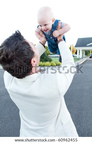 happy father and son playing - stock photo