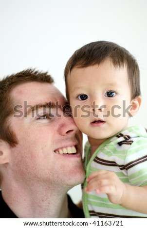 Happy father and son together
