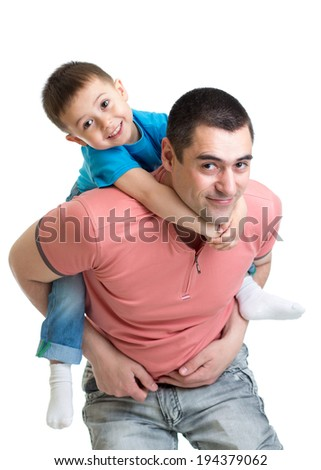 happy father holding kid on his back isolated on white - stock photo