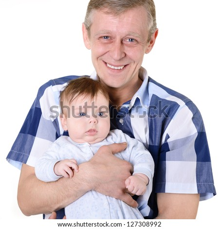 happy father holding on hand his cute infant son, family portrait of mid adult man and baby boy over white
