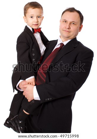 Happy Father holding son isolated on white - stock photo