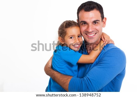 happy father hugging his daughter over white background