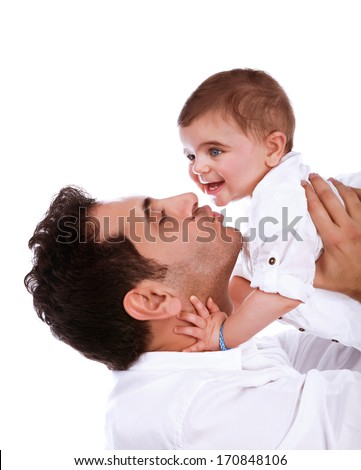 Happy father kissing baby daughter, isolated on white background, having fun indoors, young family, happiness and love concept - stock photo