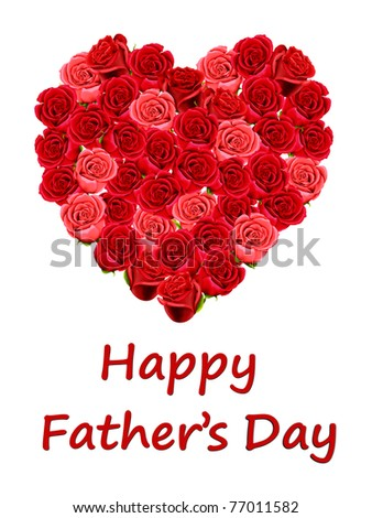 Happy Father's Day card in a red heart isolated on a white background - stock photo