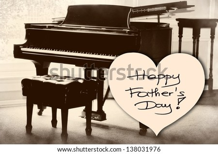 Happy Father's Day picture image illustration with piano background isolated writing handwriting - stock photo