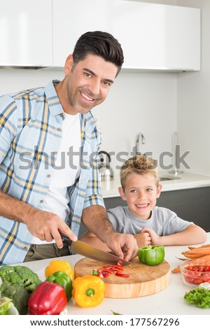 Happy father teaching his son how to chop vegetables at home in kitchen - stock photo
