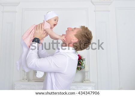happy father with a baby - stock photo