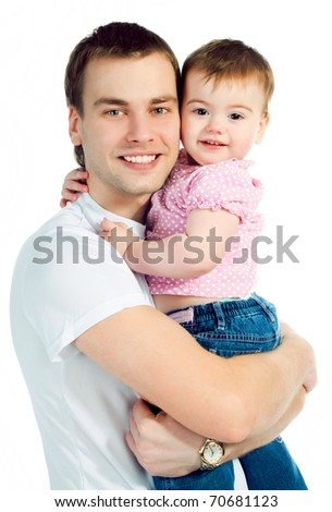 happy father with a baby on a white background