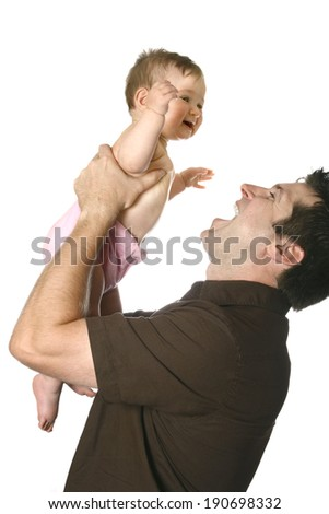 Happy father with beautiful baby girl. - stock photo