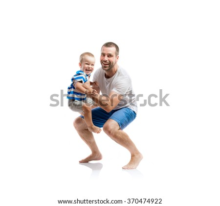 Happy father with his son - stock photo