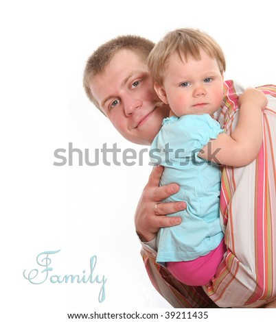 happy father with little baby - stock photo