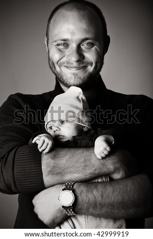 happy father with son - stock photo