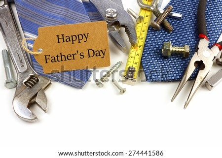 Happy Fathers Day gift tag with border of tools and ties on a white background - stock photo