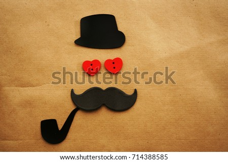 Happy fathers day sticker hat glasses black mustache tie bow and smoking