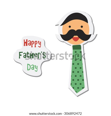 Happy Fathers Day sticker with happy father - stock photo