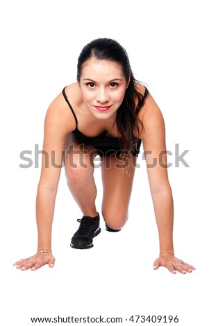 Happy Female athlete track and field runner, fitness cardio exercise concept.