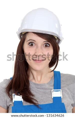 Happy female builder - stock photo