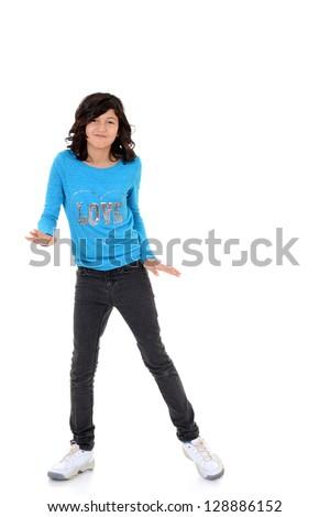 happy female child dancing - stock photo