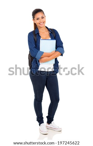 happy female college student on white background - stock photo