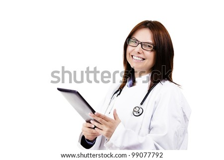 happy female doctor with a tablet pc on white background - stock photo
