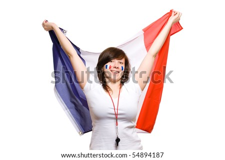 happy female, french team supporter, studio shoot isolated on white background