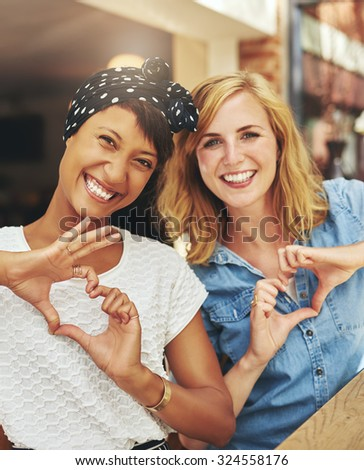 Happy female friends having a good time, best friends - stock photo