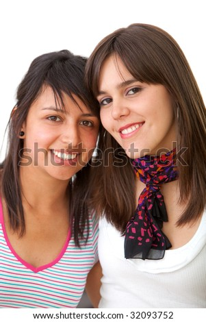 happy female friends smiling isolated over a white background