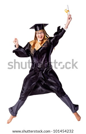 Happy female graduate jumping isolated over a white background - stock photo