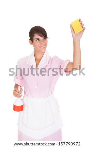 Happy Female Maid Washing With Sponge And Bottle Over White Background - stock photo