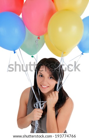 Happy female standing with air balloon - stock photo