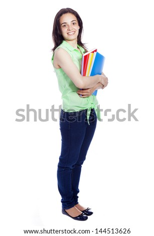 Happy female student smiling - isolated over a white background
