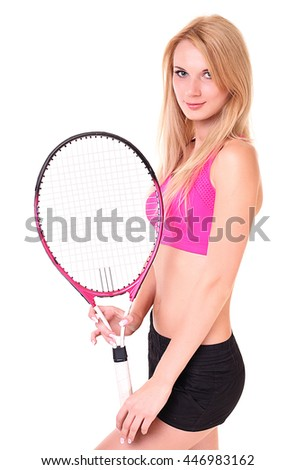 Happy Female Tennis Player Isolated on White, Full Body.
