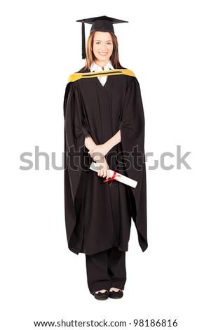 happy female university graduate full length portrait isolated on white - stock photo