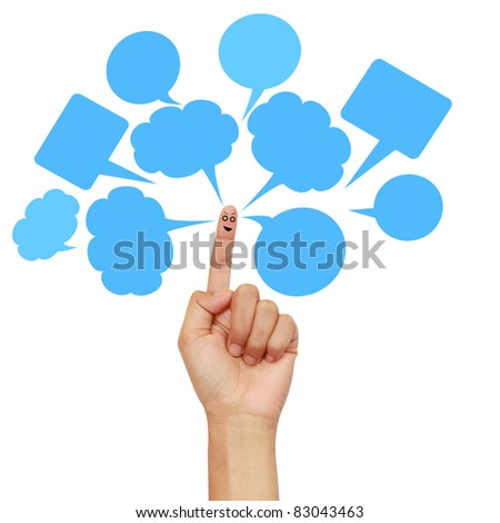 Happy finger smileys holding with social network sign - stock photo
