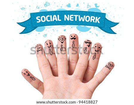 Happy finger smileys with social network sign - stock photo