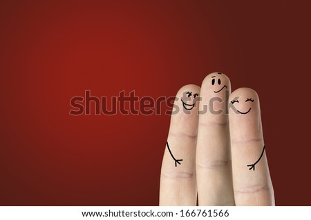 happy fingers on colored background - stock photo