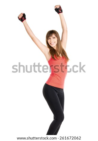 Happy fitness woman isolated on white background. Young slim caucasian girl express successful emotions - stock photo