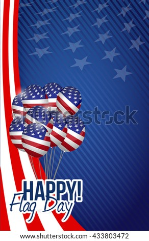 happy flag day us balloons background illustration design graphic