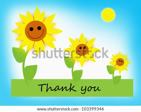 Happy Flowers - Thank you - stock photo