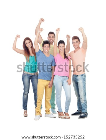 Happy friends celebrating the victory isolated on white background - stock photo