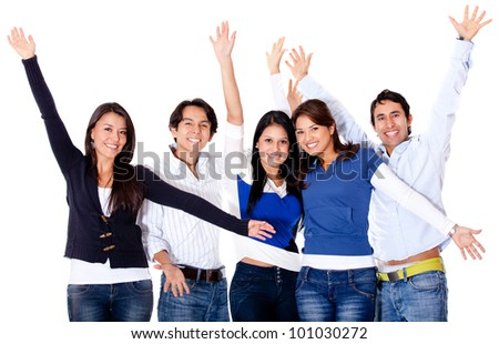 Happy friends celebrating with arms up - isolated over white - stock photo