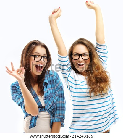 Happy friends.Girl showing  OK symbol with hands. - stock photo