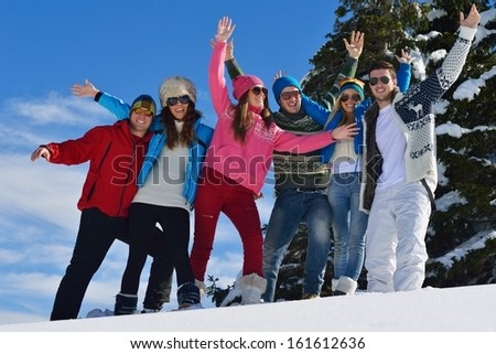 happy friends have fun at winter on fresh snow, healthy young people group outdoor - stock photo