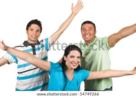 Happy friends with hands up having fun and laughing isolated on white background - stock photo