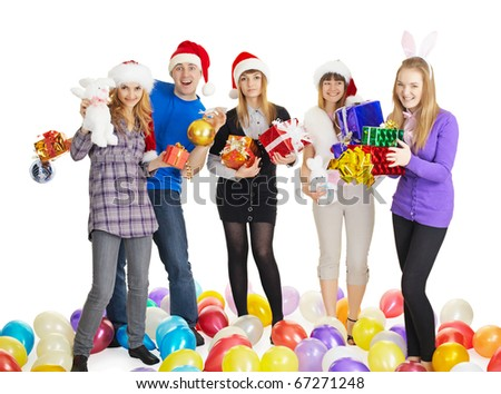 Happy friends with New Year's gifts isolated on a white background - stock photo