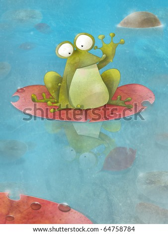 Happy frog sitting on a lily pad waving.