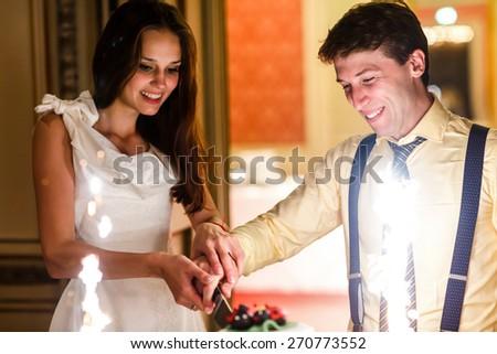 happy fun bride and groom cuting big white weddin cake decorate sunflowers ladybird and firework - stock photo