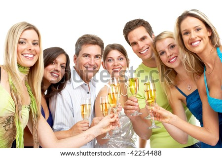 Happy funny people with champagne. Isolated over white background - stock photo