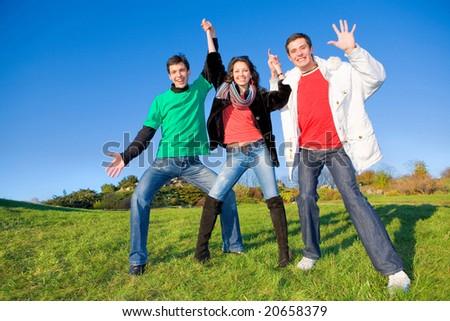 Happy funny team - stock photo